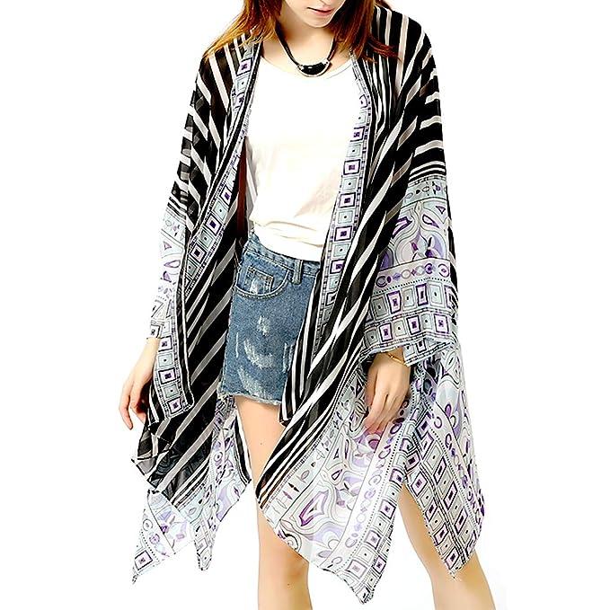 e6499e09f0 Loose Sun Beach Bikini Swimsuit Cover Up Sheer Chiffon Summer Boho Open  Front Plus Kimono Cardigan