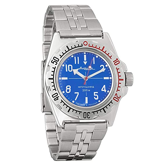 Vostok 110648 de anfibios/2415b Buceo Ruso Relojes mecánico automático para Hombre Color Azul: Vostok: Amazon.es: Relojes