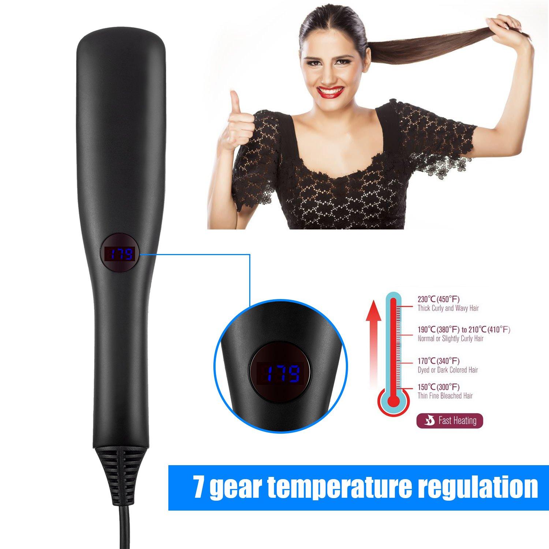 Cepillo alisador de pelo, iBeauTek 2 en 1 ionic Electric Cepillo de pelo mojado y seco estilo con dientes antical de cerámica avanzada y función de bloqueo ...