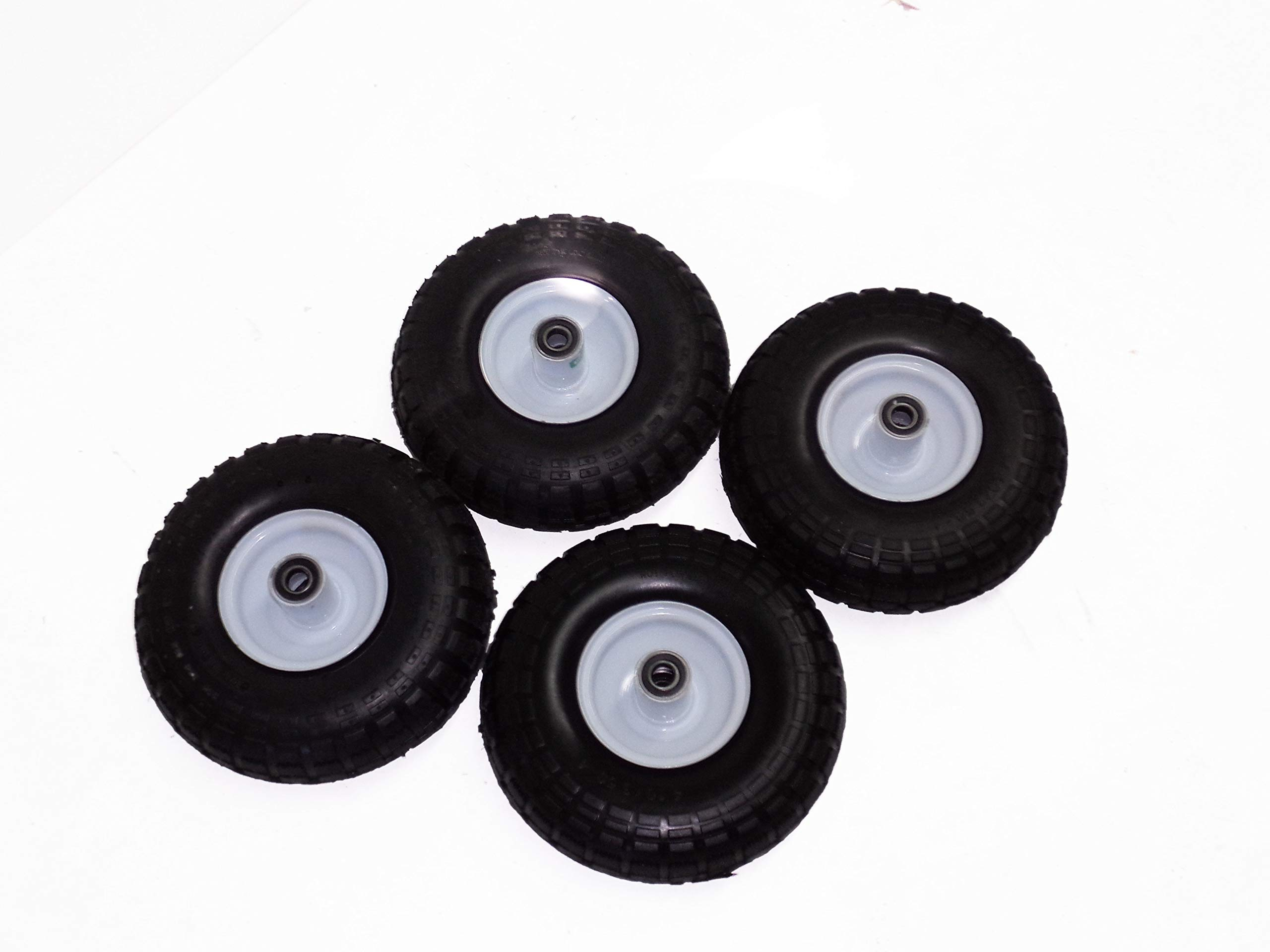 Millside Industries Set of 4 4.10/3.50-4 Pneumatic (Air-Filled) Wagon / Cart All Purpose Utility Tires on Wheels 2.25'' Offset White Hub, 5/8'' Bore Ball Bearings