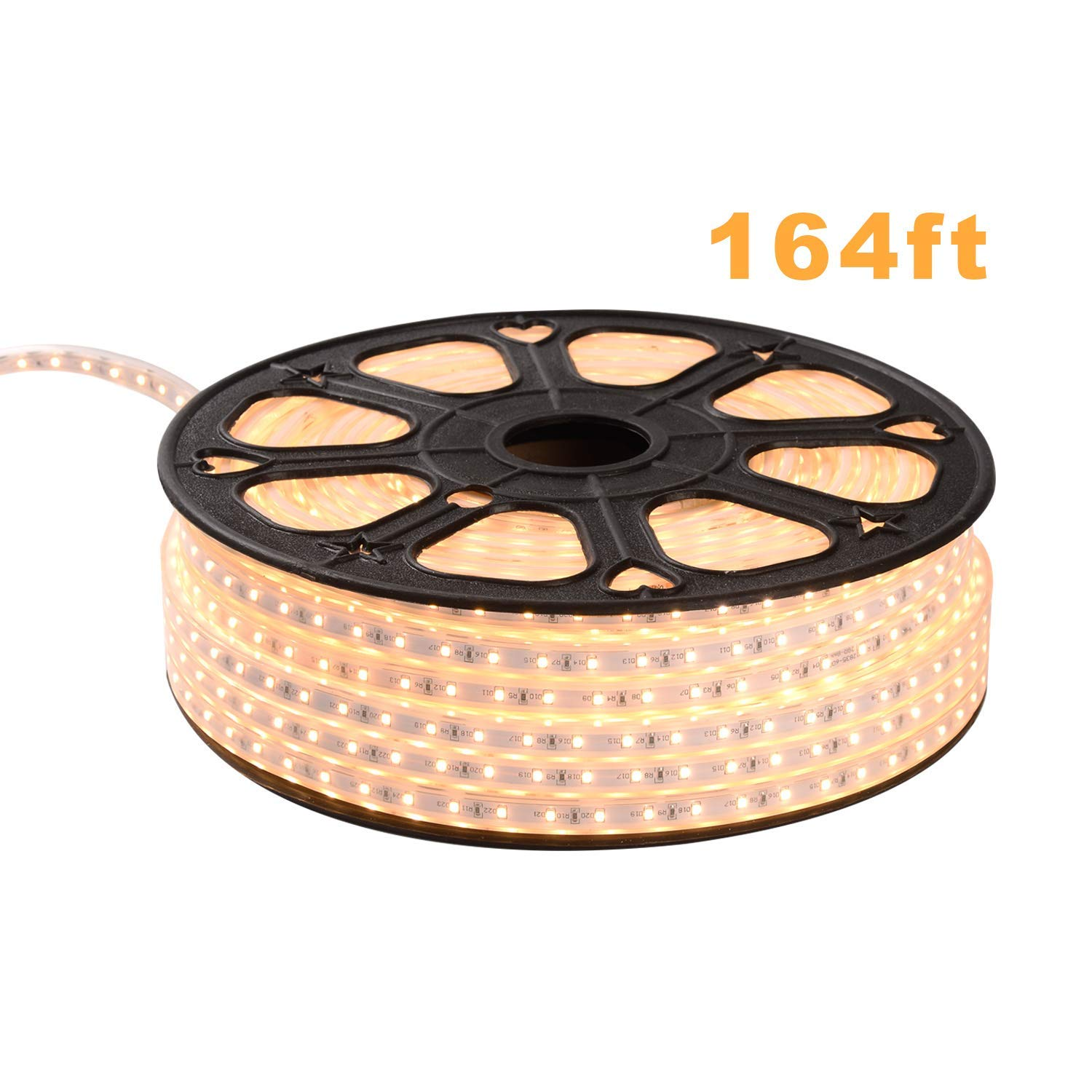 Shine Decor 110V Cuttable LED Strip Lights | Super Bright Plug & Play Light Strip for Indoor Outdoor Lighting | Safe Flexible Glowing Lights for Party Decorations & Ambient Spaces | 164ft Warm White