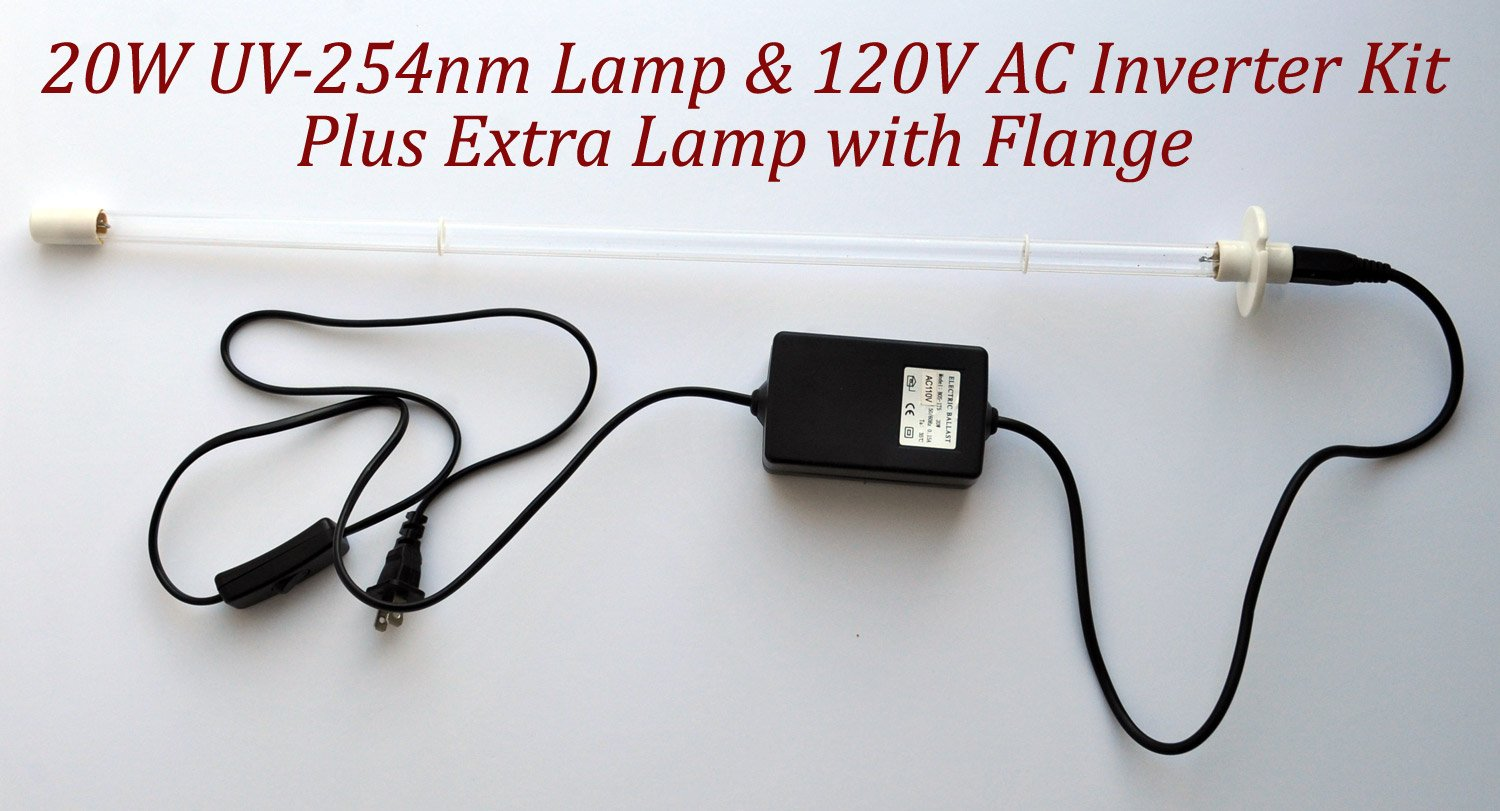 20W UV-C Germicidal Bulb and 120V AC Kit for Air Duct Purification + Spare Lamp