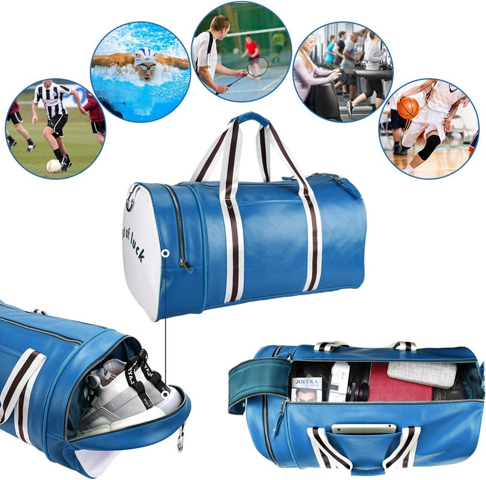Travel Duffel Bag for Men and Women Lightweight Sports Gym Bag with Wet Pocket /& Shoes Compartment Green