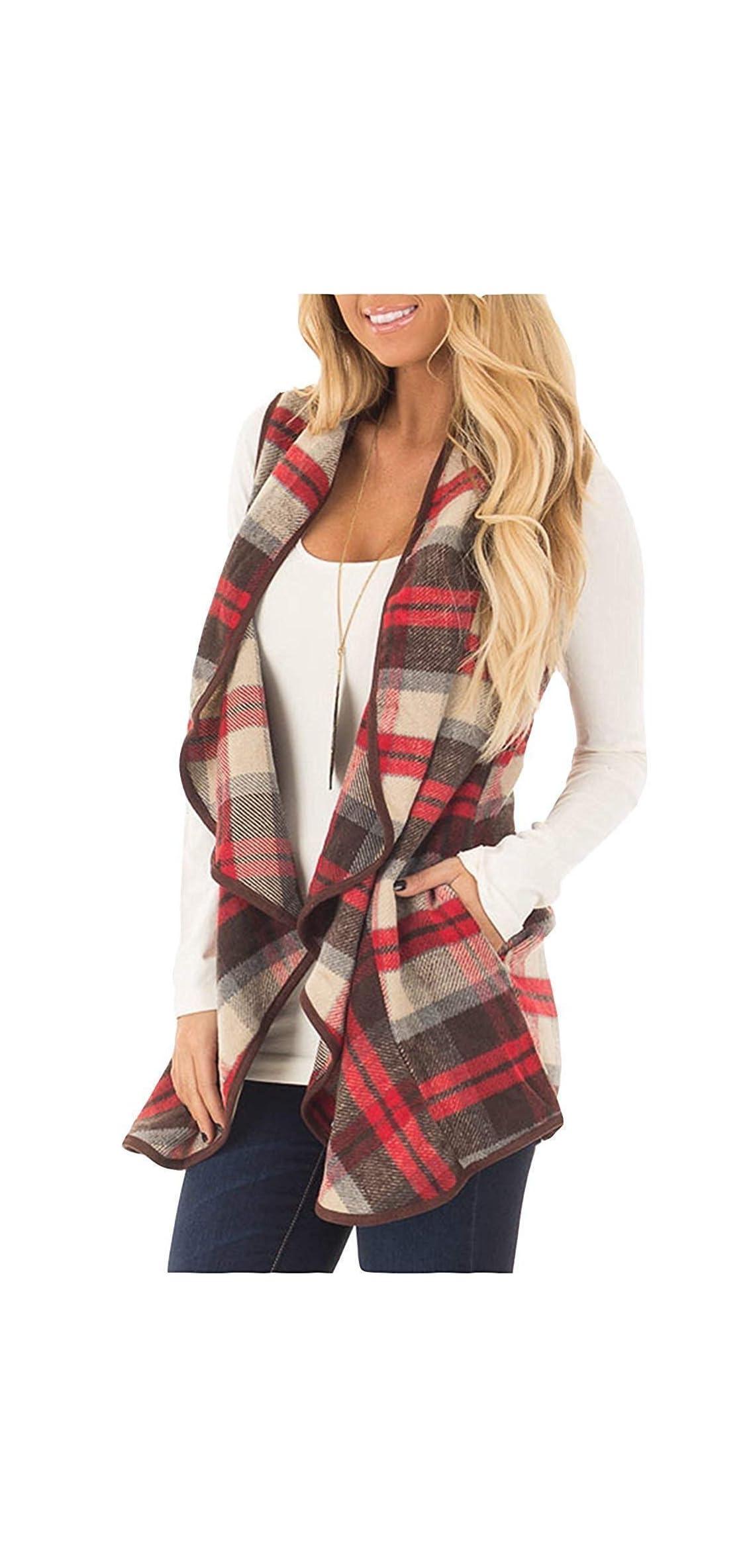 Womens Casual Lapel Open Front Plaid Vest Cardigan Coat