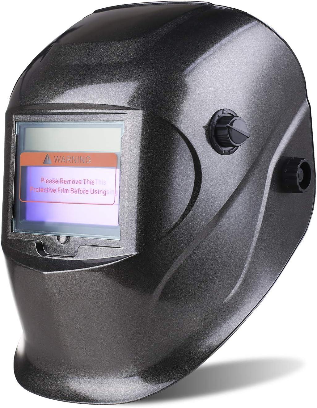 SHYOSUCCE Casco de Soldadura con Protección UV: 16 niveles, Careta Soldar Automatica (Oscurecimiento Variable: DIN 9-13) para Pulir, MMA, MIG/MAG,WIG/TIG, 5 Lentes de
