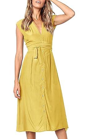 ECOWISH Sommerkleider Damen V Ausschnitt Gestreift Kleid Ärmellos Midikleid Casual Swing Strandkleid mit Knöpfen