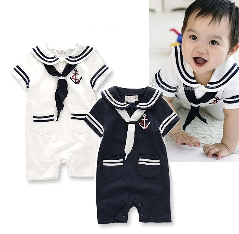 MAXIMGR Infant Baby Toddler Anchor Sailor Stripe Romper Marine Navy Romper Onesie Outfit