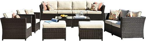 ovios Patio Furniture Set,Outdoor Furniture 12 Pcs Sets,PE Rattan Wicker sectional