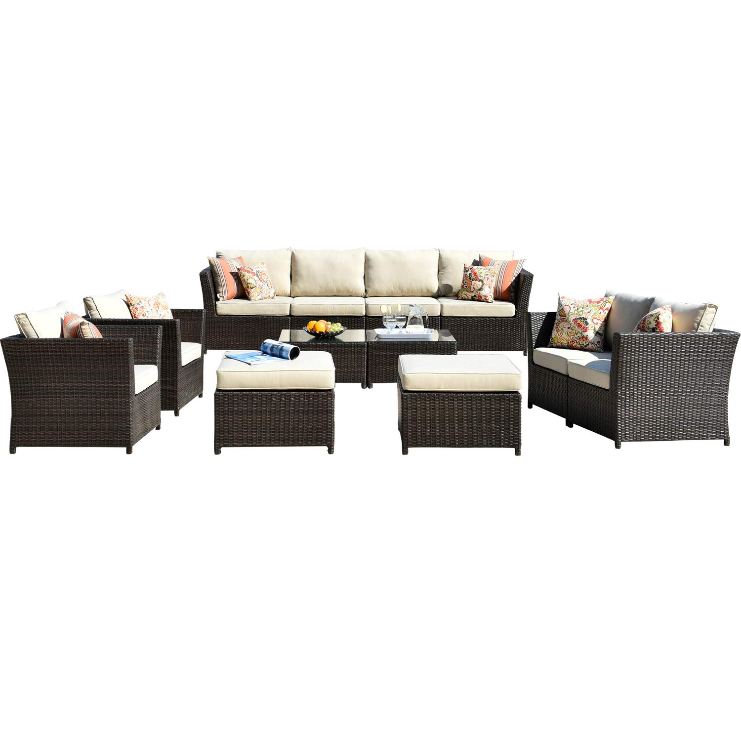 ovios Patio Furniture Set,Outdoor Furniture 12 Pcs Sets,PE Rattan Wicker sectional with 4 Pillows and 2 Patio Furniture Covers, No Assembly Required,Brown (12 Piece, Beige)