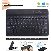 Teclado de Tableta Teclado Bluetooth 3.0 Inalámbrico Recargable Teclado Wireless Bluetooth Keyboard with Rechargeable Battery for Tablet iPad/Apple/Samsung/Acer/Asus/Lenovo/LG with Windows/Android/iOS Negro