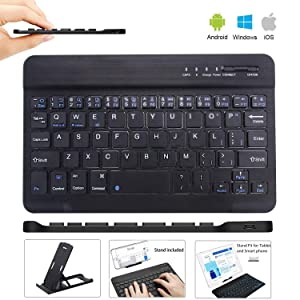Ultra Slim Wireless Keyboard Ultrathin Wireless Bluetooth Keyboard 7 inch Bluetooth 3.0 Keyboard in Rechargeable Battery for iPad/Apple/Samsung/Acer/Asus/Lenovo/LG Tablet with Windows/Android/iOS