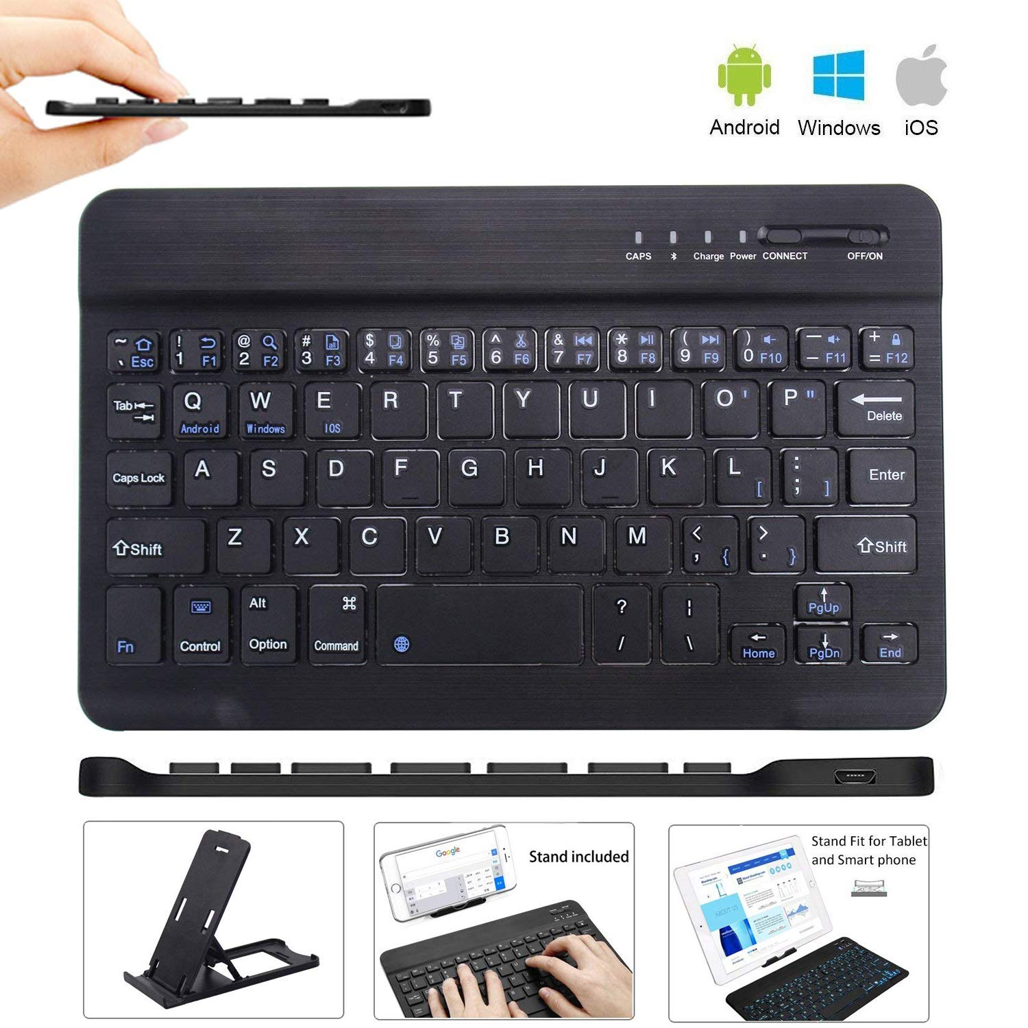 Ultra Slim Wireless Keyboard Ultrathin Wireless Bluetooth Keyboard 7 inch Bluetooth 3.0 Keyboard in Rechargeable Battery for iPad/Apple/Samsung/Acer/Asus/Lenovo/LG Tablet with Windows/Android/iOS by Freal