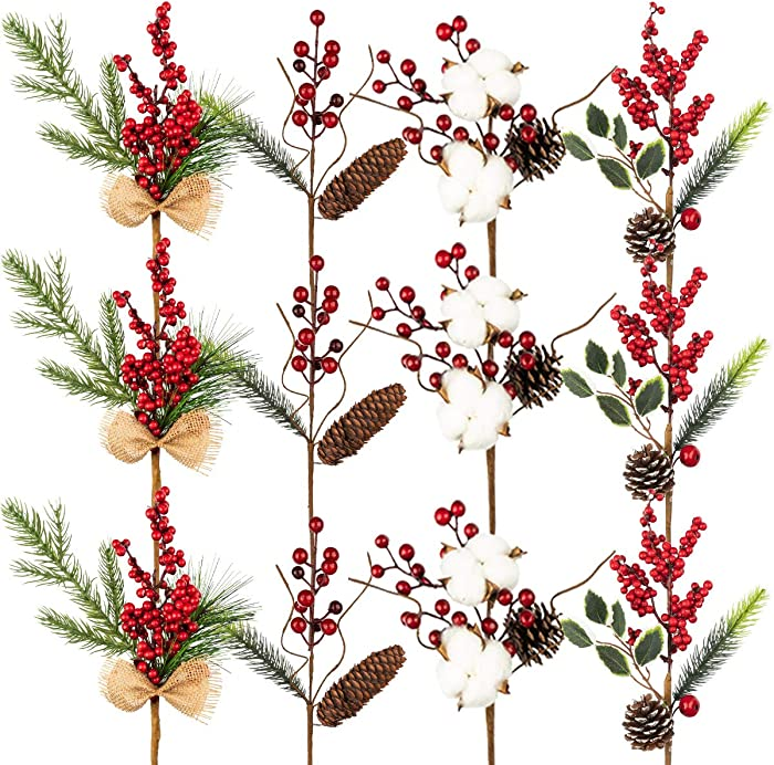 KI Store Artificial Christmas Tree Stem Picks Assorted Set of 12 Red Berry Cotton Boll Picks Faux Pine Picks Spray for Christmas Tree Wreath Garland Farmhouse Decor Floral Arrangement