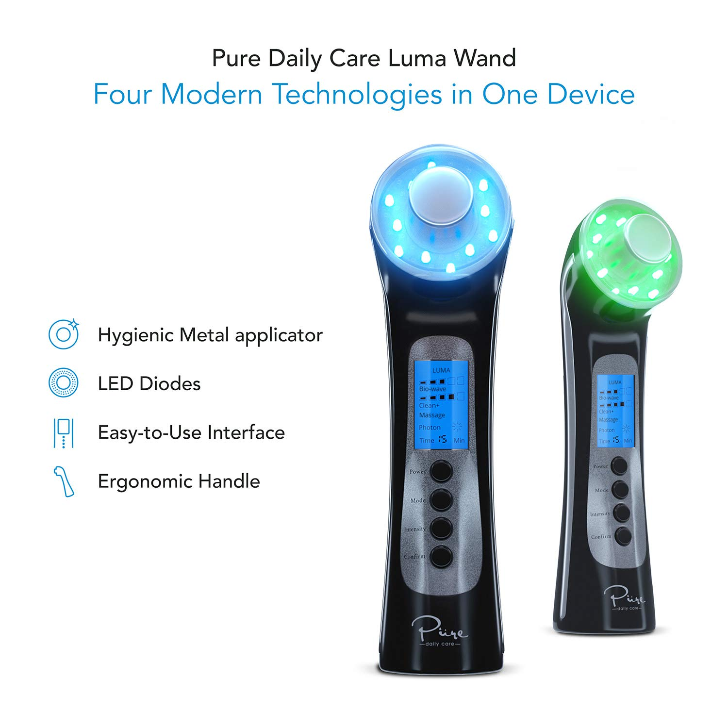 Luma Skin Therapy Wand - 4-in-1 Natural Facial Skincare Treatments - LED Light Machine+Ion Therapy+Wave Stimulation+Massage-Acne Treatment-Anti Aging-Lift & Firm-Red-Blue-Green-Tighten Skin-Wrinkles by Pure Daily Care (Image #2)