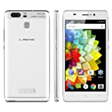 Landvo XM300 5.0 inch IPS HD Screen Unlocked 3G Smartphone Android 6.0 MT6580 Quad Core 1.3GHZ Mobile Phone Dual SIM Dual Camera Fingerprint 1GB RAM+8GB ROM Smart Wake Cellphone (White)