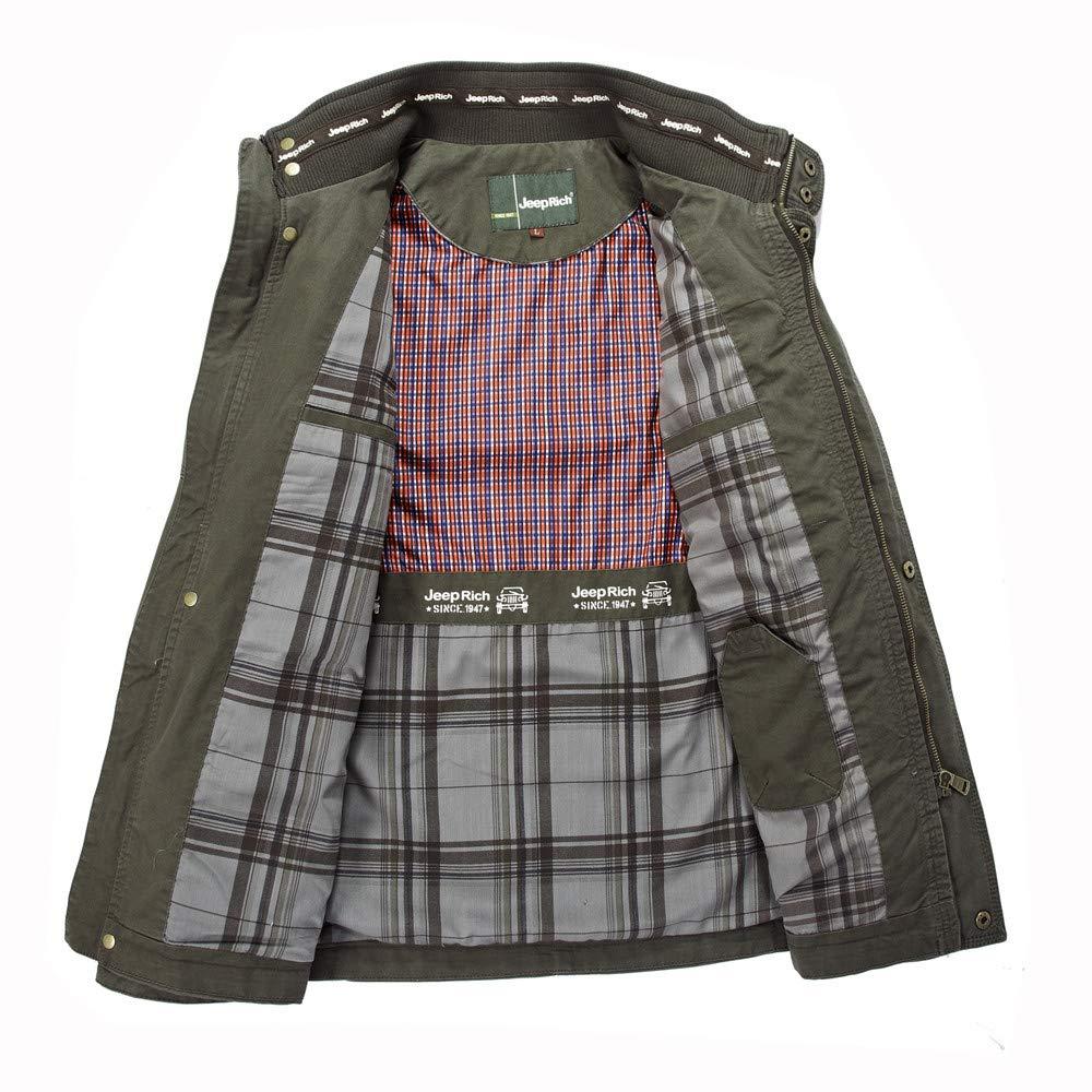 ErYao Mens Autumn Winter Fashion Multi-Pocket Medium Length Long Sleeve Jacket Coat at Amazon Mens Clothing store: