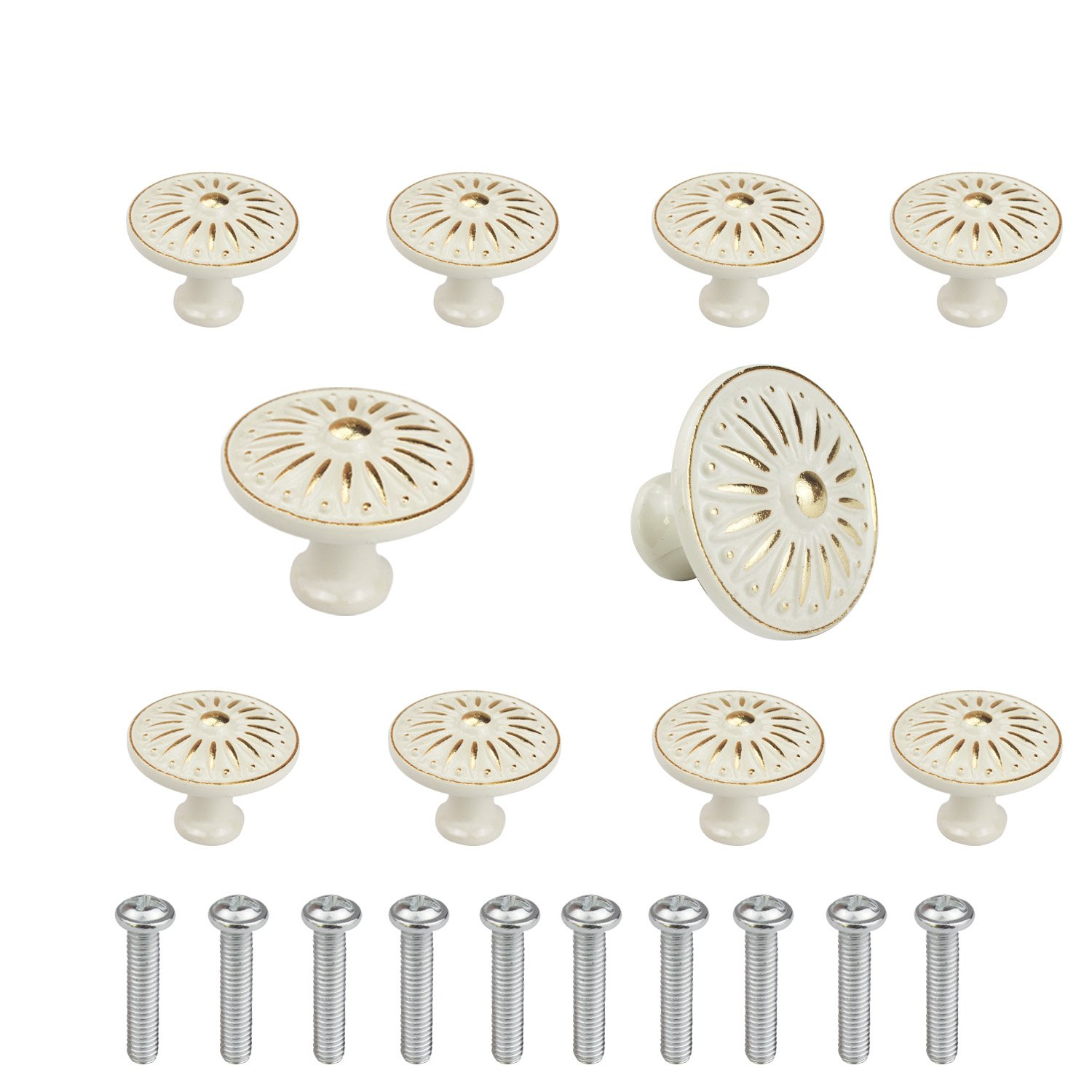 WeiMeet Cabinet Knob, 10Pcs 35mm Single Hole Ceramic knob Dresser Cupboard Cabinet Drawer Knobs Wardrobe Door Pull Handle for Home Office