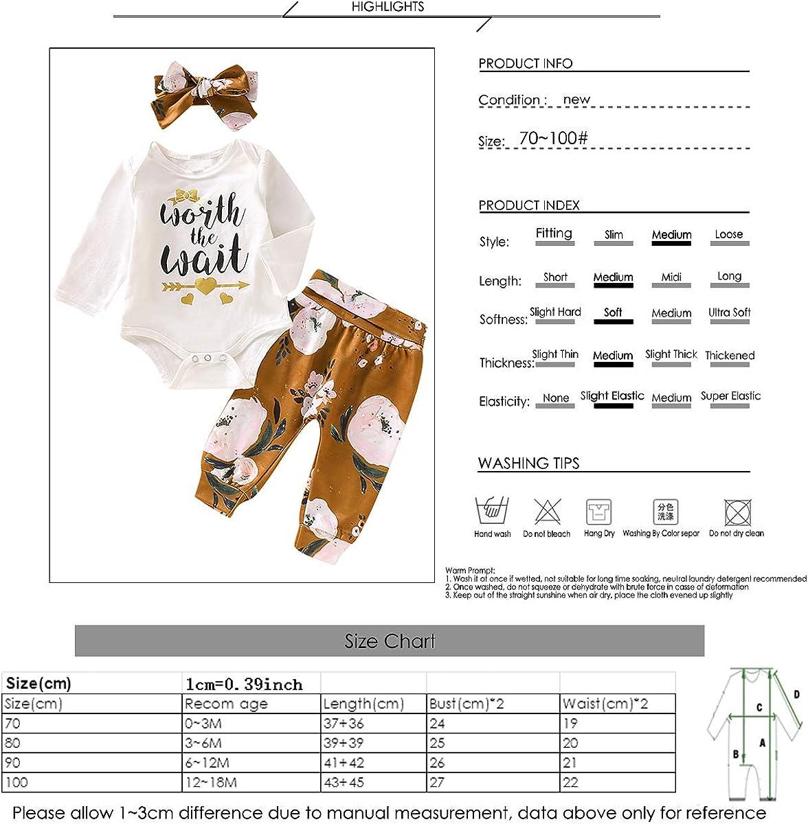 Tianhaik Infantile b/éb/é Filles v/êtements Lettre Imprimer Combinaison /à Manches Longues Pantalon Formel Bandeau Tenues dautomne