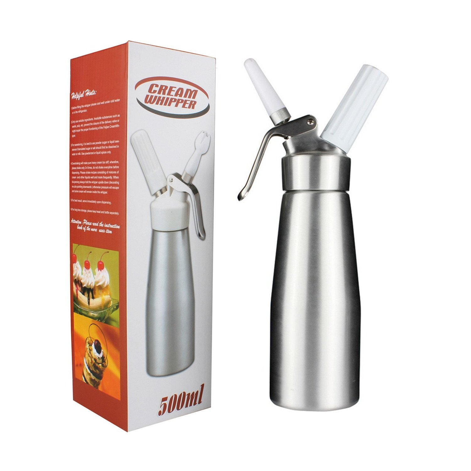 Professional Whipped Cream Dispenser by Sivaphe Homemade Cream Whipper Maker Cainster Aluminum 500ML/1 Pint Gifted 3 Decorating Plastic Nozzles Need N2O Chargers (not included)