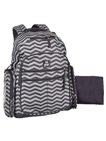 9064e95262db3 BB Gear Grey Chevron Stripe Diaper Bag - Lightweight, Roomy, Bookbag Design  with Wipes Holder