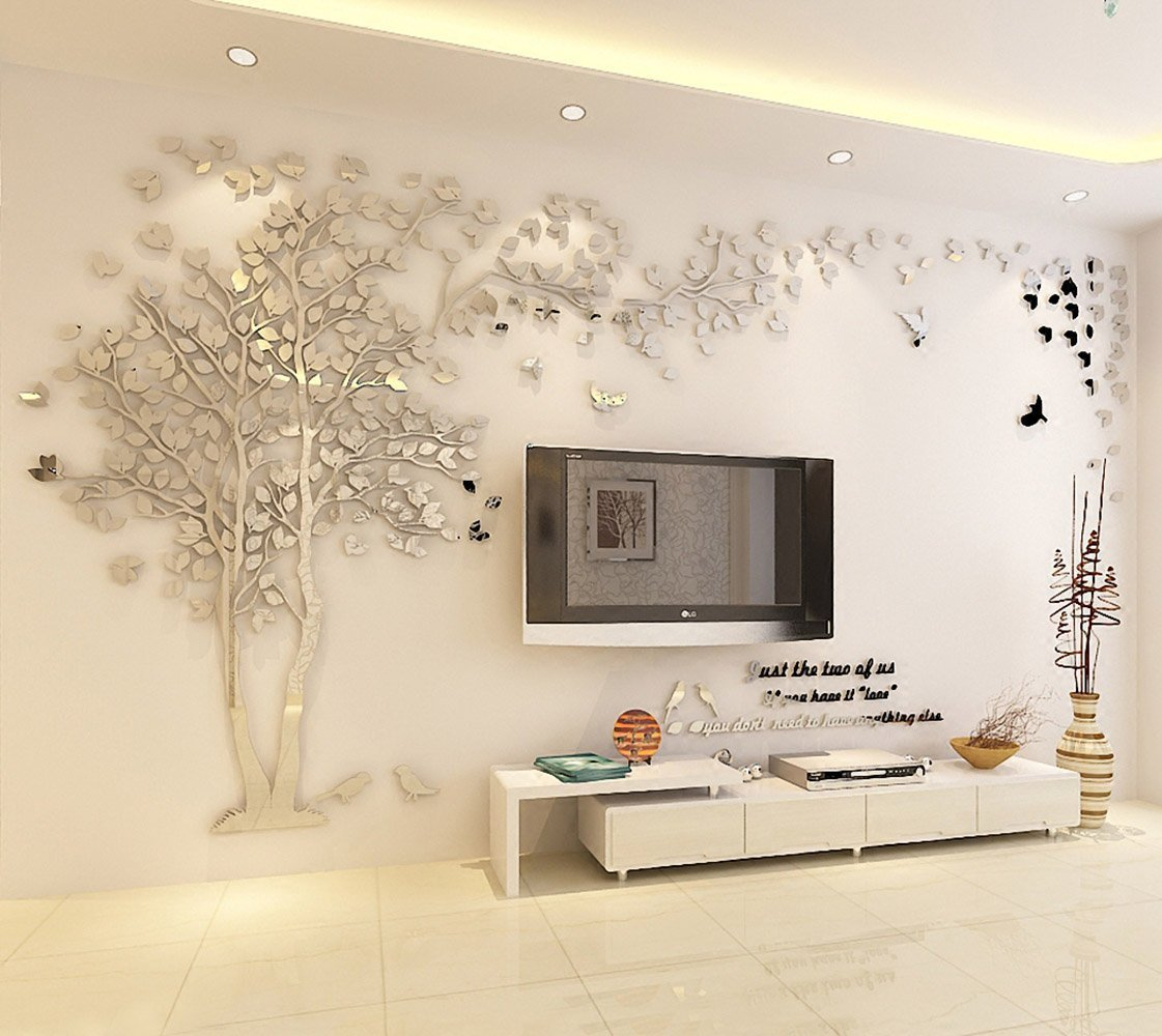 Woneart 3D DIY Riesig Paar Baum Wandtattoos Wandaufkleber Kristall Acryl Wandtattoo Aufkleber Vögel Vine Zweig Wandkunst Wohnzimmer Schlafzimmer Kinderzimmer Sticker (XXL, Silver, Right)