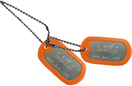 Army Universe Matte Custom Embossed Stainless Steel Military Style Dog Tag  Set - Orange Silencer ccc4afb4b91