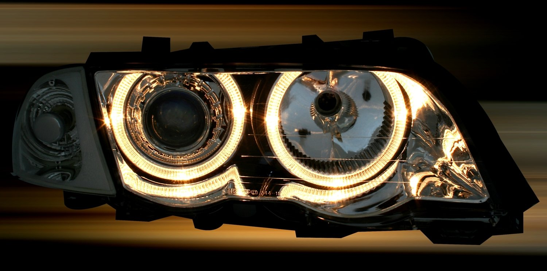- Juego de Faros KG 960552 de Largo Alcance de Tipo Ojos de /ángel de Cromo AD Tuning GmbH /& Co Transparentes