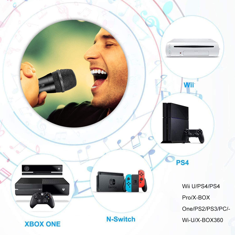 Micrófono USB para Nintendo Switch, Compatible con Juegos Karaoke de PS4 / PS3 / Xbox One / PS2 / PS3 / Wii / PC, Cable de 3 m - Negro: Amazon.es: Videojuegos