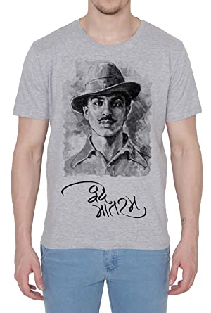 d8212c0bf1 Printing Geeks Republic Day Special Collection Bhagat Singh Mens T-Shirt  (Grey, Large