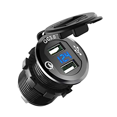 ZYTC Quick Charge 3.0 Car Charger 12V/24V 36W Aluminum Black Waterproof Dual QC3.0 USB Fast Charger Socket Power Outlet with Blue LED Digital Voltmeter for Marine, Boat, Motorcycle, Truck, Golf Cart: Automotive