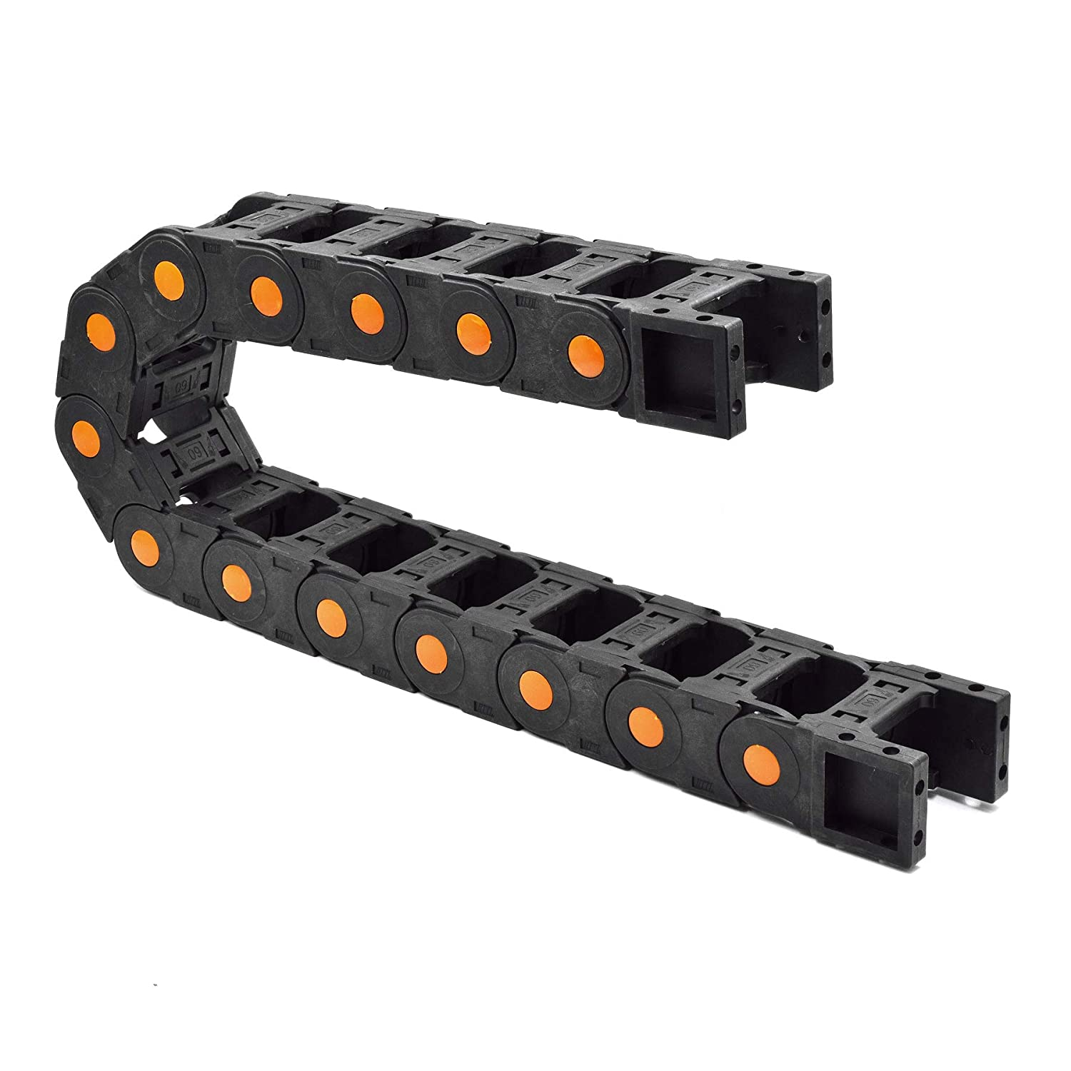 Plastic Drag Chain Cable Carrier Open Type with End Connectors R100 35 x 60mm L1000mm for Electrical CNC Router Machines