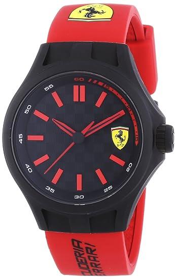 Scuderia Ferrari PIT CREW - Reloj de cuarzo, correa de goma color rojo: Amazon.es: Relojes