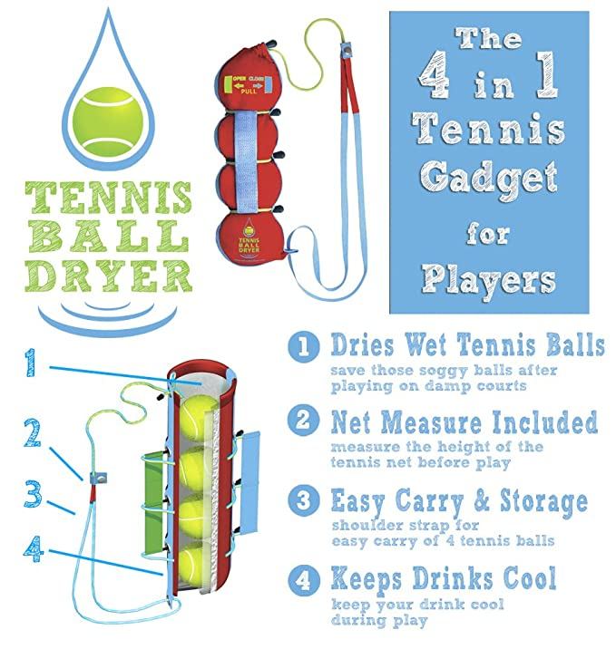 Amazon.com : Aspect Sports Tennis Ball Dryer - 4-in-1 Tennis ...