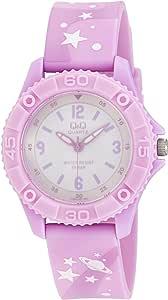 Q&Q Girls White Dial Plastic Band Watch - Vq96J020Y, Pupple & Pink Band, Analog Display
