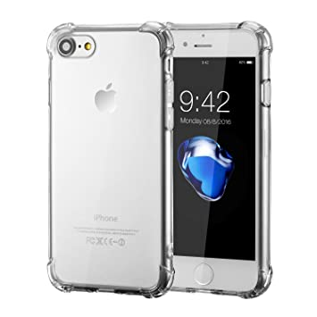 06416fa173 iPhone 7 ケース,Pocean iPhone 7 ケース クリア 背面カバー ソフトTPU 薄 透明 超