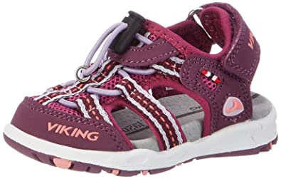 Viking Unisex-Kinder Thrill Geschlossene Sandalen, Grau (Charcoal/Red 7710), 32 EU