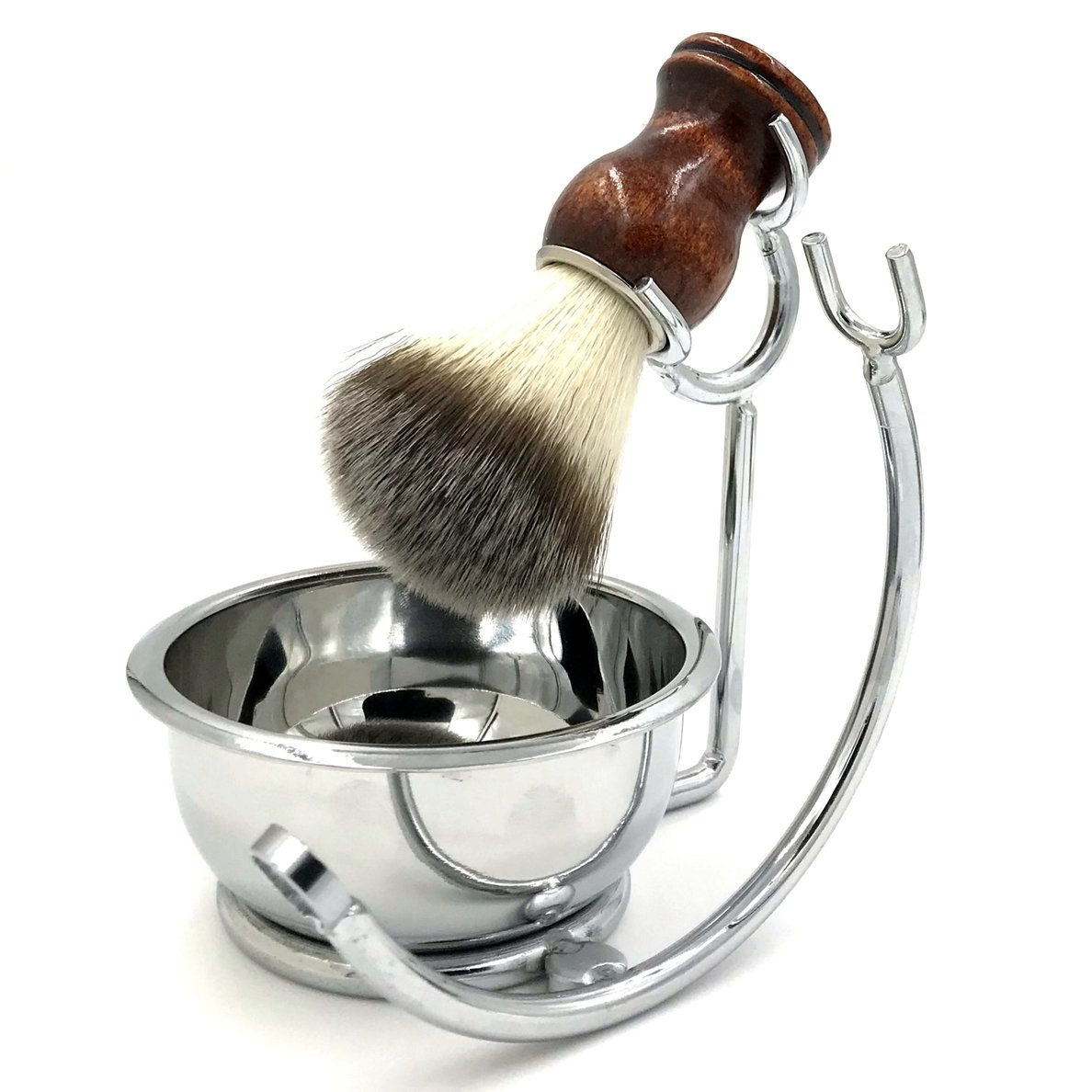Strong Brush Stand + Men's Shaving Brush + Perfect Stainless Steel Shaving Soap Bowl,For Guaranteed Best Shave of Your Life. Use for Old Fashioned Double Edge Safety Razor or Multi Blade Razor