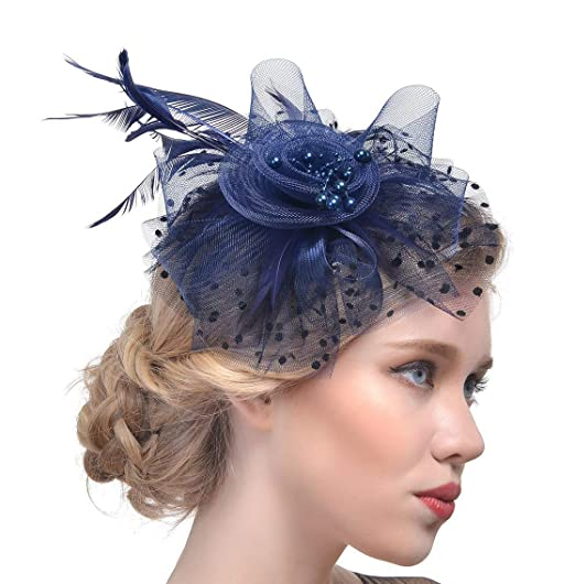28b723ca12e81 Fasker Women Fascinator Hat Flower Feathers Clip Cocktail Party Headwear  Hats at Amazon Women s Clothing store