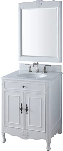 26″ Benton Collection Daleville Antique White Bathroom Sink Vanity Mirror Set 838AW-MIR