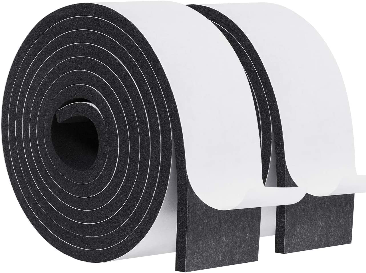 Weather Stripping-2 Rolls, 2 Inch Wide X 1/4 Inch Thick Foam Tape High Density Foam Seal Strip Door Weatherstrip Adhesive Insulation Foam Total 13 Feet Long(6.5ft x 2 Rolls )