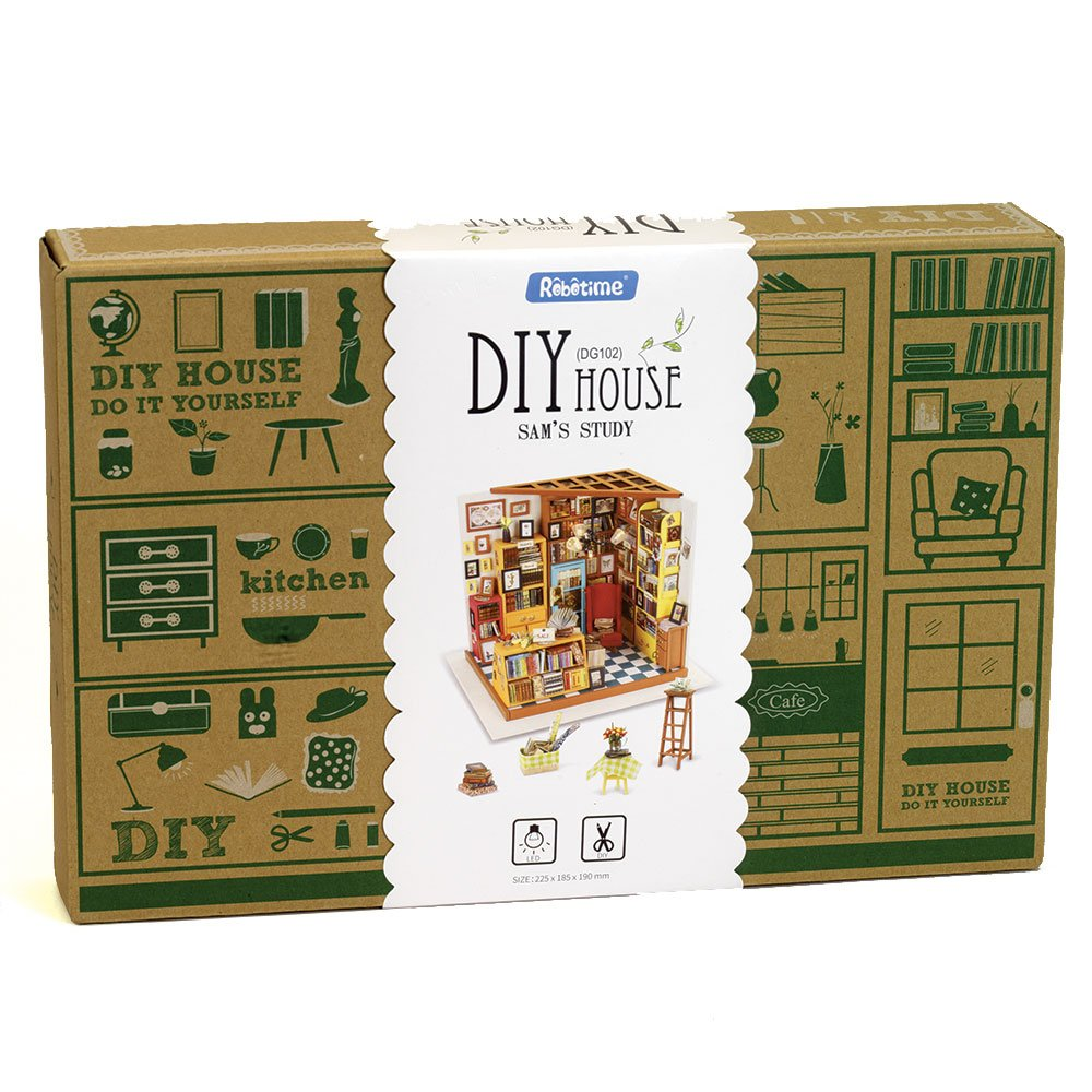 Miniature Building Set with Working Lights Bits and Pieces Colored Instruction Book Included Detailed Architectural 3D Library Model Kit for Adults Plywood and Fiberboard DIY Papercraft