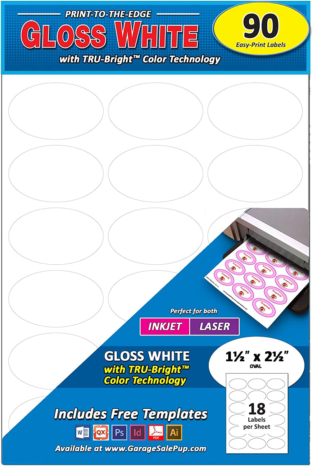 Pack of 540 Permanent Print-to-The-Edge Oval Labels 1.5 x 2.5-Inches Laser//Inkjet Glossy White.