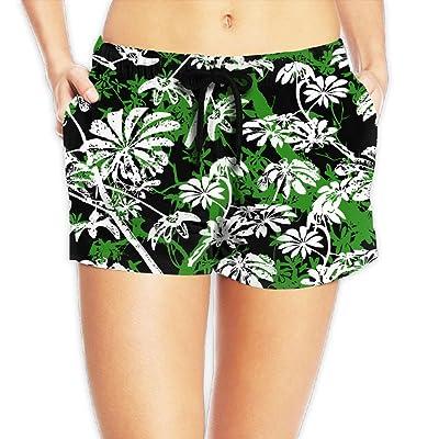 a8adbccf15f Usieis Tropical Trees and Leaves Surfing Pocket Elastic Waist Women s Beach  Pants Shorts Beach Shorts Swim