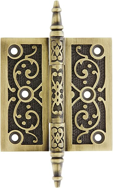 4 Inch Door Hinge Old Style Antique Victorian Hardware Aged Bronze Leaf