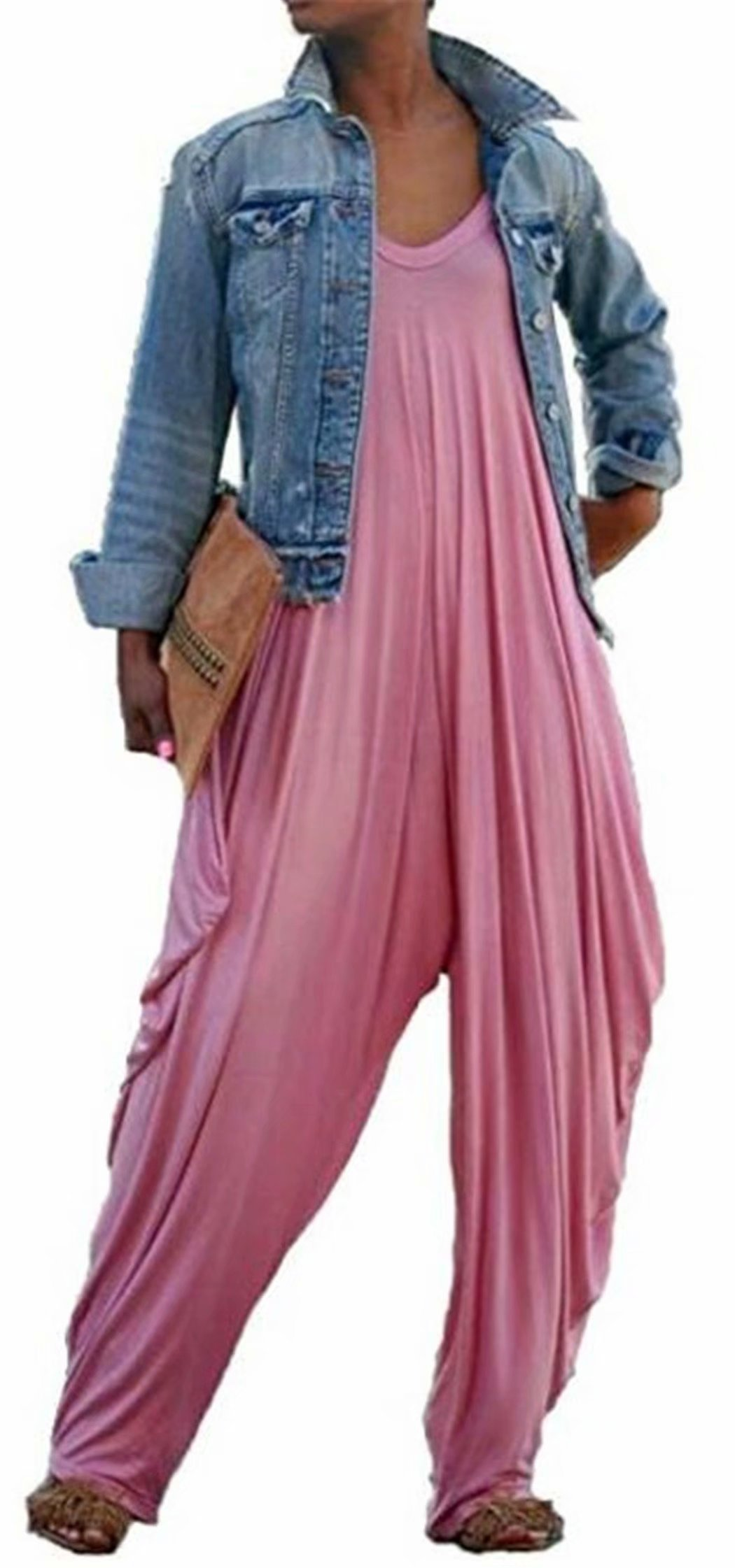 JINTING Women V Neck Spaghetti Strap Wide Leg Long Pant Casual Loose Harem One Piece Jumpsuit Romper Plus Size Size S (Pink)