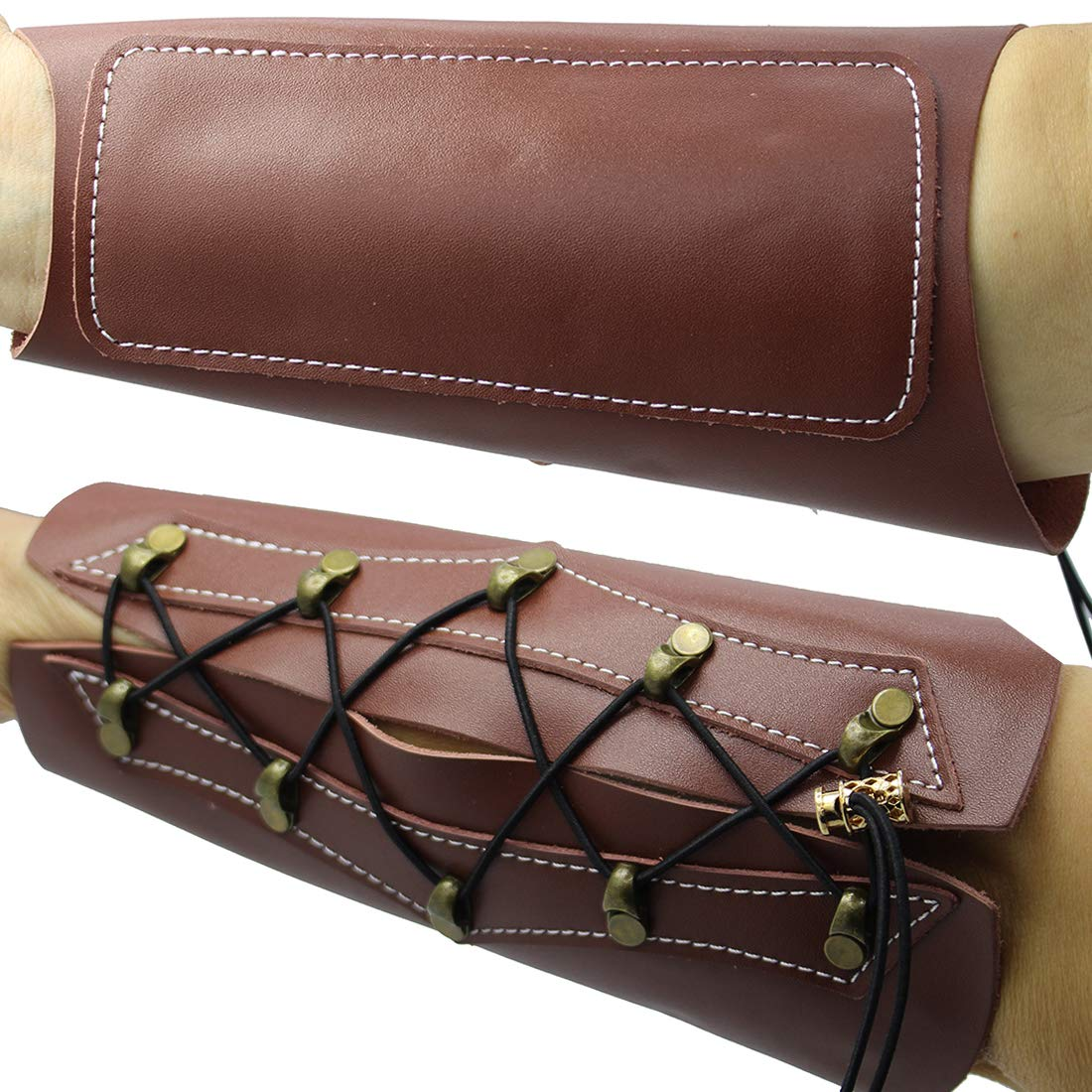HRCHCG Protective Arm Guard Cow Leather Archery Recurve Bow Takedown Longbow Tradition American Hunting Back Hand Guard Safe Protector Hunting Bow and Arrow Accessories