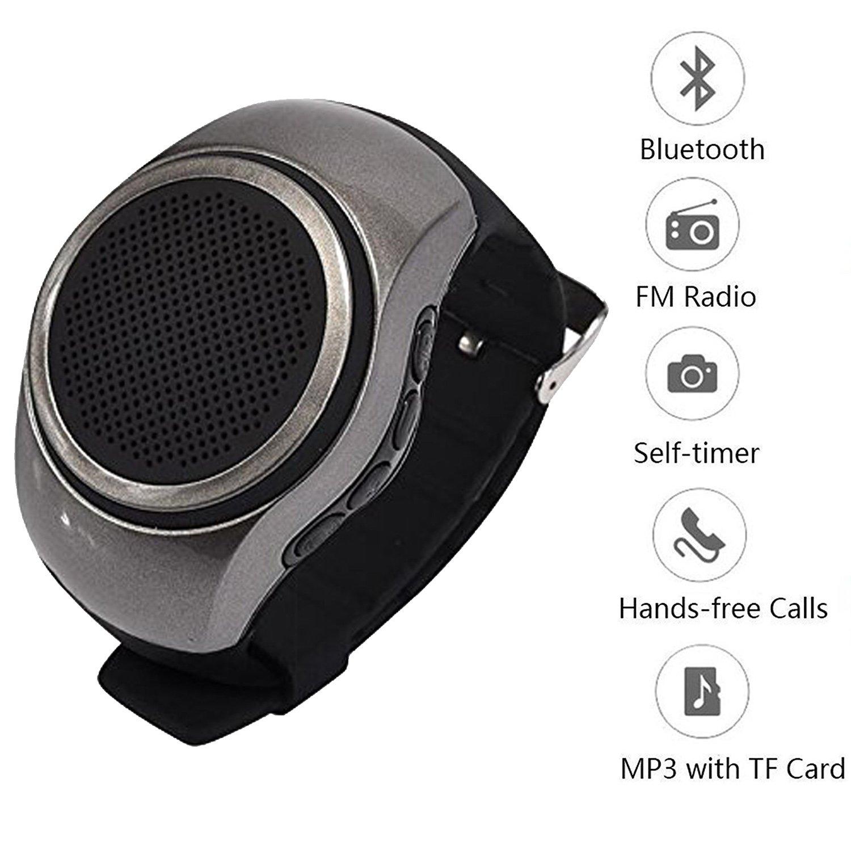 Portable Speaker Watch Sport Music Watch Mini Bluetooth Speaker with Fm Radio Selfie Mp3 Music Player Wearable Speaker for Android Cell Phone Samsung Galaxy S8 S7 S6 S5 Huawei Nexus HTC Men Women Kids