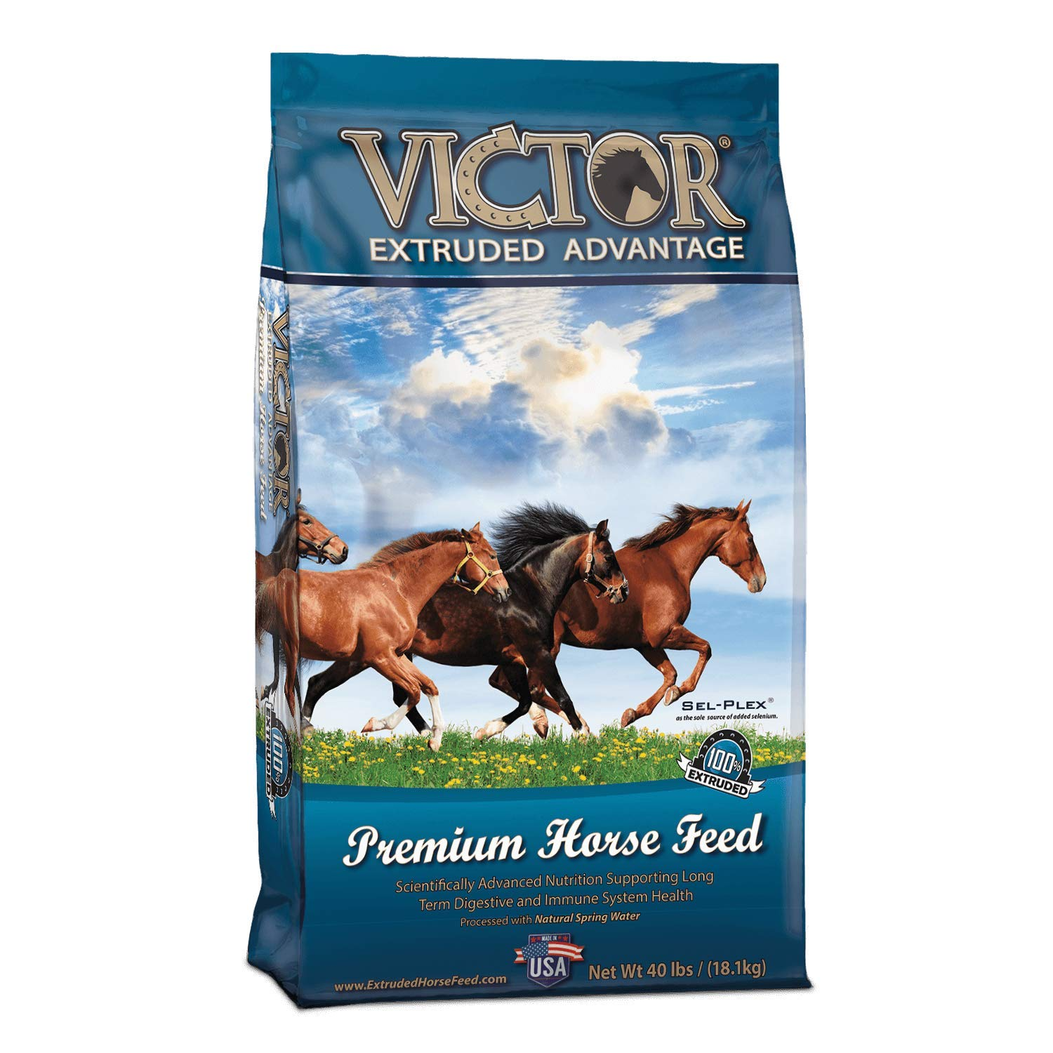 Victor Extruded Advantage - Premium Horse Feed, 40 Lb. Bag