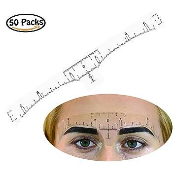 Rancco® Adhesivo Regla de la ceja Pegatina, 50 piezas ceja regla ...