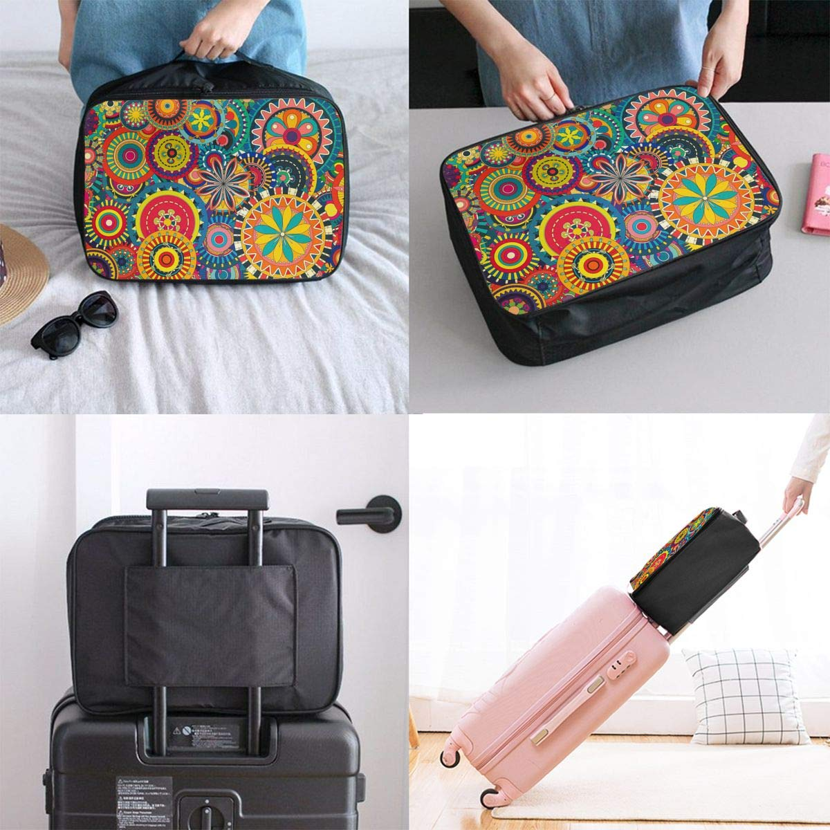 Lightweight Large Capacity Duffel Portable Luggage Bag Psychedelic Trippy Mandala Flower Gear Travel Waterproof Foldable Storage Carry Tote Bag